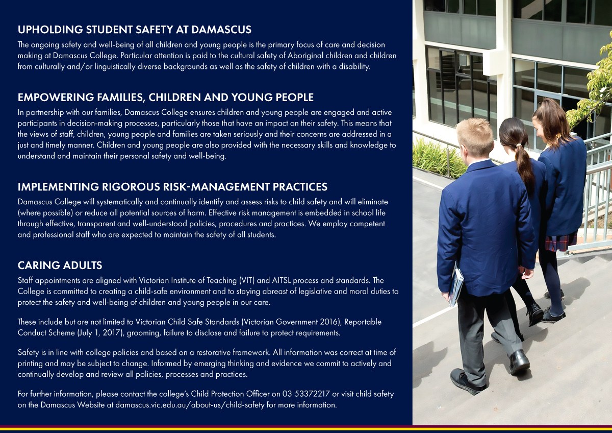 Child and Young Person Safety at Damascus College back
